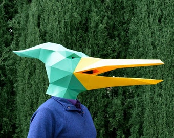 Dinosaur Mask - Pterodactyl Mask Paper Pattern | Halloween Mask Dinosaur Mask Kid Papercraft Template Paper Mask