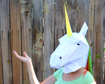 Unicorn Mask or Horse Mask - PDF Pattern | DIY Mask | Low Poly Papercraft | Halloween Mask | Horse Mask | Printable Mask