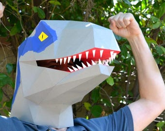 Raptor Dinosaur Mask - Jurassic Park PDF Pattern | Jurassic World Velociraptor Halloween Mask Raptor Mask Low Poly Papercraft