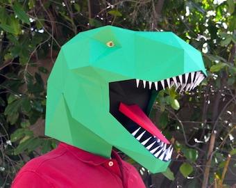 Dinosaur Mask Low Poly Papercraft Pattern - Make a T-Rex Mask! Printable Mask Halloween Mask