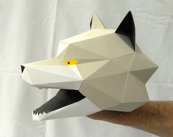 Hand Puppet Pattern: Build Your Own Wolf Puppet! Paper Puppet Papercraft Red Riding Hood Three Little Pigs