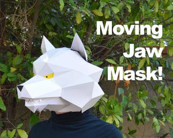 Wolf Mask with Moving Jaw! - Make a Paper Halloween Mask - Two Styles!   Animal Mask   DIY Paper Mask   DIY Mask   Werewolf Mask