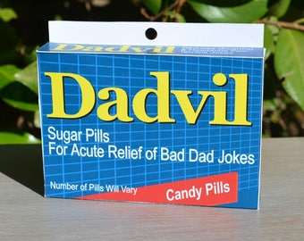 Father's Day Gift: Dadvil! - Download & Print   Dad's Birthday   Dad Jokes   Last Minute Father's Day   Joke Medicine Box   Gift for Dad