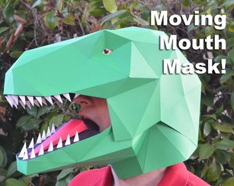 Dinosaur tail costume accessory make yours with just paper talking t rex mask build a dinosaur with moving mouth paper mask solutioingenieria Choice Image