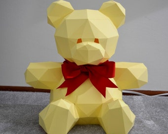 Craft Kits for Adults: Teddy Bear Paper Figure PDF Download | diy craft kit for adult building kit