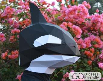 Orca Mask - Papercraft Pattern | Printable Mask | Animal Mask | Halloween Mask | Paper Mask | Dolphin Mask
