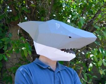 unicorn mask or horse mask pdf pattern diy mask low poly etsy