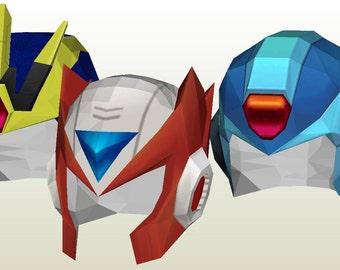 Megaman X Papercraft Patterns - All X   Zero Helmets - Cosplay 0d959c5b6d