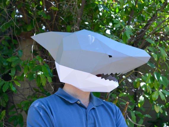shark mask papercraft template animal mask instant etsy
