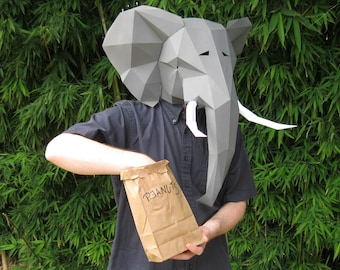 Elephant Mask - Build Yours with just Paper and Glue! | Animal Mask | Printable Mask | Papercraft Pattern