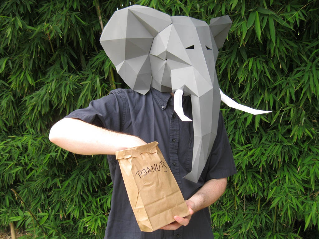 Elephant Mask Build Yours with just Paper and Glue Animal | Etsy