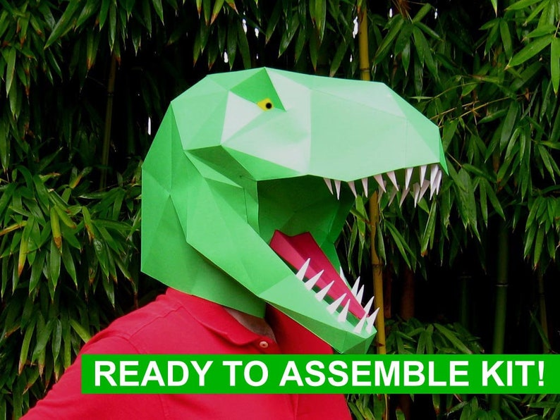 Dinosaur Mask Kit - T-Rex Kit - Build a Tyrannosaurus! | Paper Mask | DIY  Mask | Halloween Mask | Dinosaur Costume | Gifts for Crafty