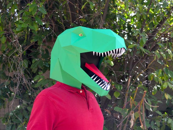 Dinosaur Mask Make a T-Rex Mask with just Paper and Glue  4576e4b1a522