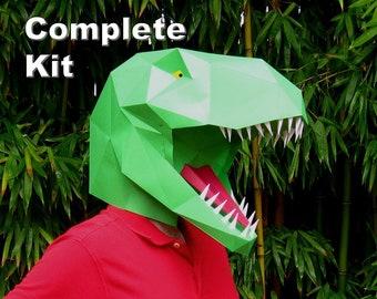 Dinosaur Mask - T-Rex Kit - Build a Tyrannosaurus!   Paper Mask   DIY Mask   Halloween Mask   Dinosaur Costume   Gifts for Crafty