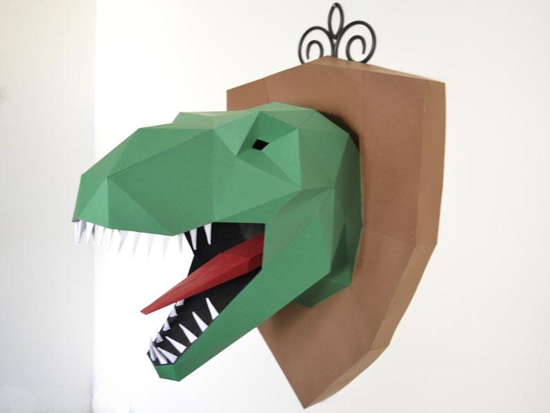 99f1c486a T-Rex Wall Trophy Papercraft Pattern T-Rex Plaque Dinosaur | Etsy