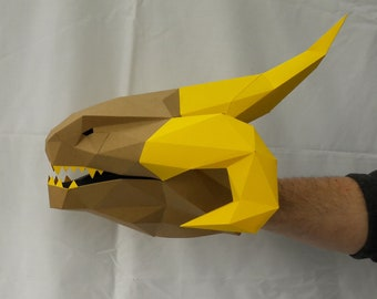 Hand Puppet Pattern: Behemoth Dragon - Build Your Own Paper Dragon! Monster Puppet | Paper Puppet | Papercraft | Dungeons and Dragons