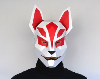 Kitsune Mask Pattern - Papercraft Template | Kitsune Fox Mask Halloween Mask Paper Mask Low Poly DIY Mask