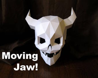 Devil Skull Mask with Moving Mouth for Halloween - DIY Pattern With Just Paper and Glue! | Halloween Mask | Demon Skull