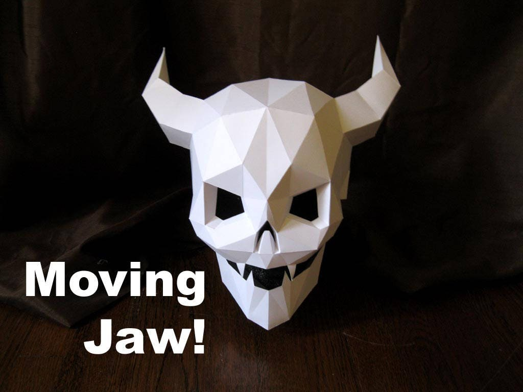 Devil Skull Mask With Moving Mouth For Halloween Diy Pattern Etsy