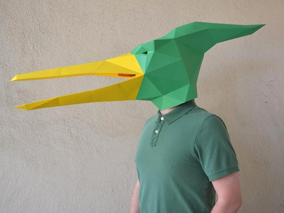 Papercraft Template Dinosaur Mask Paper Mask Pterodactyl Mask Paper Pattern Halloween Mask Dinosaur Mask Silhouette Cameo SVG