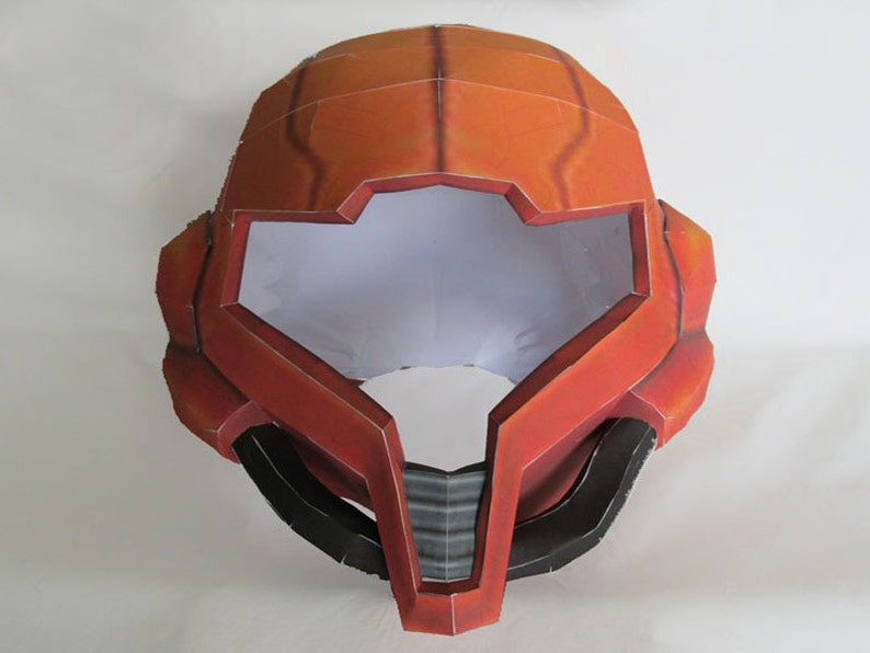 Metroid Papercraft Pattern  Full Size Samus Aran Helmet  image 0
