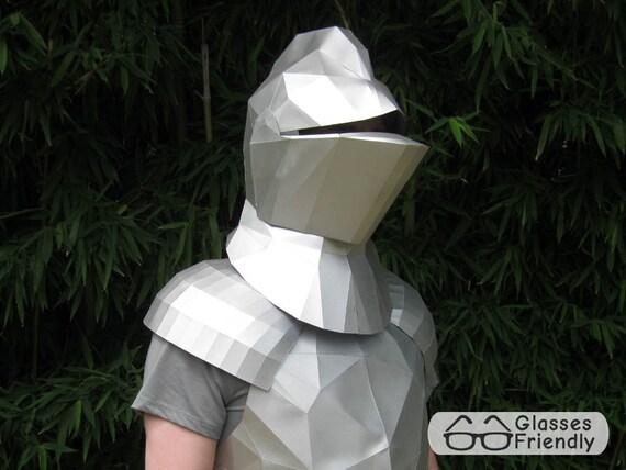 medieval knight helmet papercraft pattern knight mask etsy