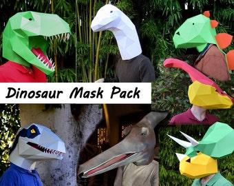 Dinosaur Costume Patterns! Make Your Own Halloween Masks: T-Rex, Raptor, and More. 50% off! | DIY Halloween Mask Patterns | Paper Masks