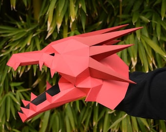 Dragon Puppet - Build a Hand Puppet with just Paper and Glue! Monster Puppet   Paper Puppet   Papercraft  