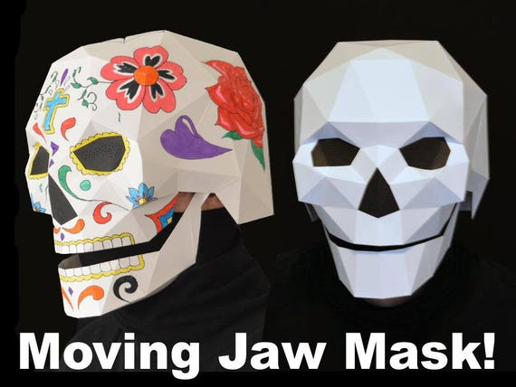 Skull Mask With Moving Mouth Low Poly Pattern Uses Just