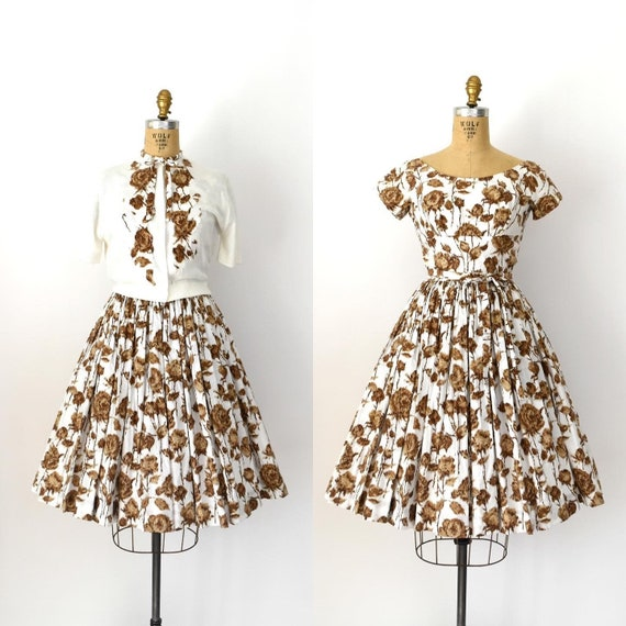 Vintage 1950s Dress Set - 50s Rose Print Cotton Dr