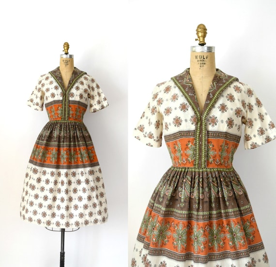Vintage 1950s Dress - 50s Fall Floral Cotton Dress