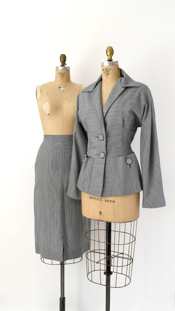 1940s Vintage Suit - 40s Stripe Steel Blue Grey Bl