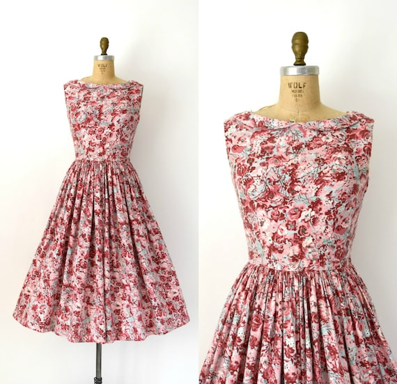 CLEARANCE SALE - 50s Vintage Dress - 50s Pink & Bl