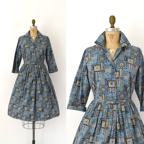 Vintage 1950s Dress - 50s Blue Cotton Shirtwaist D