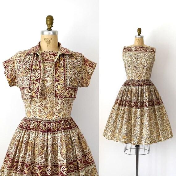 Vintage 1950s Dress Set - 50s Cotton Sundress and