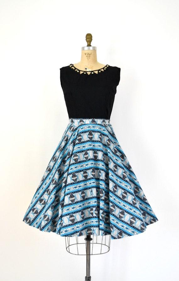 Vintage 1950s Skirt - 50s Novelty Print Cotton Cir