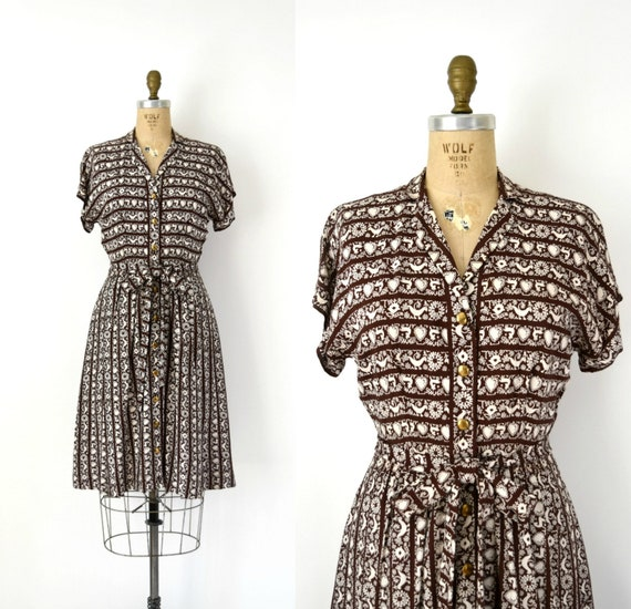 Vintage 1940s Dress - 40s Novelty Print Rayon Dres