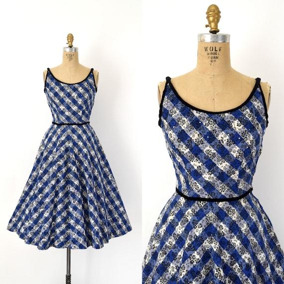 Vintage 1950s Dress - 50s Blue Black Floral Check