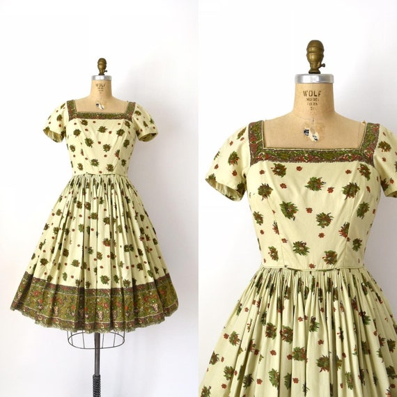 Vintage 1950s Dress - 50s Anne Fogarty Fall Floral