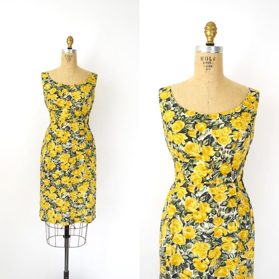 Vintage 1950s 60s Dress - 50s 60s Yellow Floral Wi