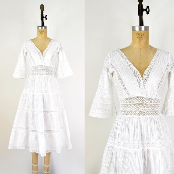 Vintage 1970s Dress - 70s White Cotton Lace Mexica