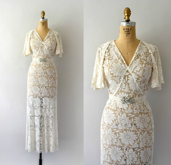 1930s Vintage Gown - 30s Ivory Floral Lace Dress w