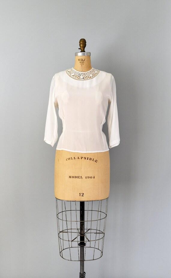 Vintage 1940s Blouse - 40s White Rayon Shirt Blous