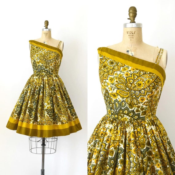 Vintage 1950s dress - 50s Golden Yellow Floral One