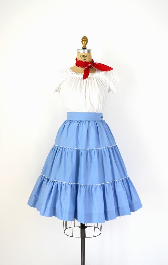 Vintage 1950s Skirt - 50s Cornflower Blue Cotton F