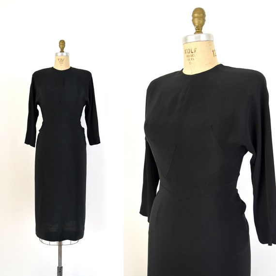 Vintage 1940s Dress - 40s Black Silk Rayon Dress