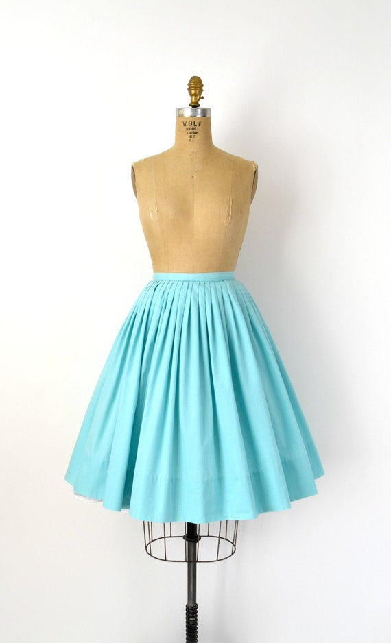 Vintage 1950s Skirt - 50s Aqua Blue Cotton Full Sk