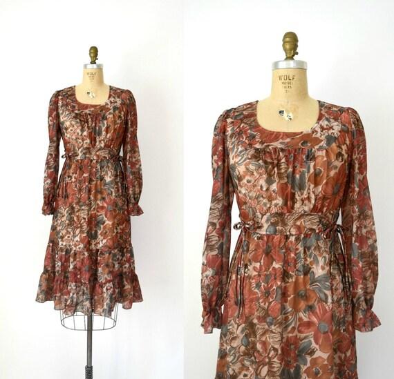 1970s Vintage Dress - 70s Candy Jones Rust Orange