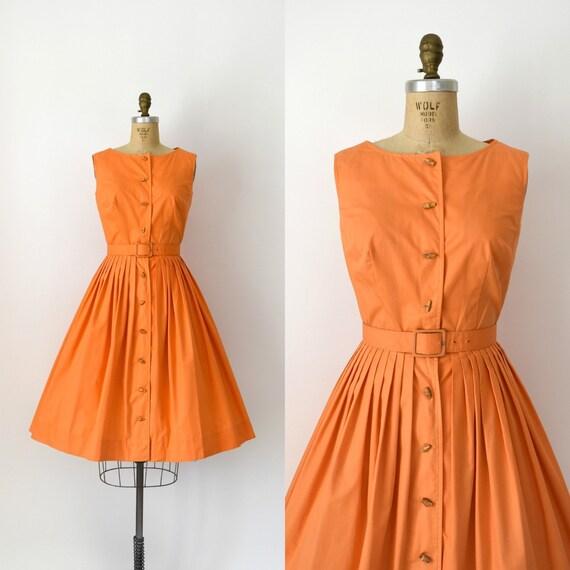 Vintage 1950s Dress - 50s Orange Cotton Sundress &