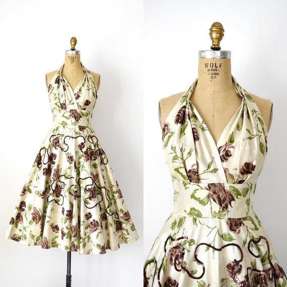 Vintage 1950s Dress - 50s Autumn Rose Sundress Bro